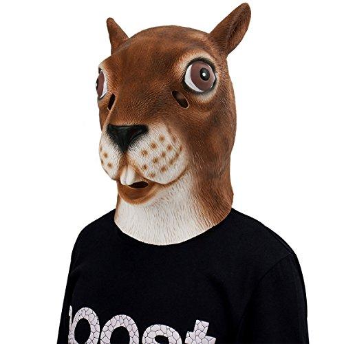 Eichhörnchen Maske, Cusfull Latex Gummi Backenhörnchen Hörnchen Tiere Maske Tiermaske Kopfmaske Erwachsenen Kostüm Zubehör für Halloween Fasching Karneval Party Zoo (Eichhörnchen Maske)
