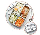 FWQPRA® Stainless Steel Lunch Box Student School Kids Bento Box Style Portable Picnic