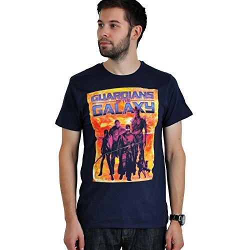 I Guardiani della Galassia -Guardians of the Galaxy - T-Shirt del Team Team Peter Quill Rocket Groot Gamora Drax - Licenza ufficiale - Blue navy - XXL