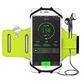 iBeek Brassard Sport iPhone X 8 8 Plus 7 7 Plus 6s [Installation Facile] 180° Rotation Étui Armband avec Attache pour Câble & Porte-clés pour Samsung Galaxy S8 S8 Plus Note 8 [4.0-6.3 Pouces] (Vert)