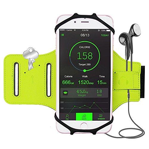 iBeek iPhone 7/7 Plus/6/6S Plus Sport Armband [Einfach zu Installieren & Steuren], 180°Drehbar, Einstellbar, Ideal für Joggen Laufen Wandern Radfahren, Kompatibel mit Samsung Galaxy S8/S8 Plus/S7/S7 Edge(Grün)