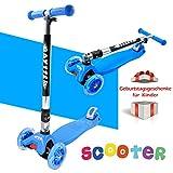 BAYTTER® Kinderscooter aus Aluminiumlegierung, Kinderroller Dreiräder für Kinder ab 2 Jahre, mit LED Blinken (blau)