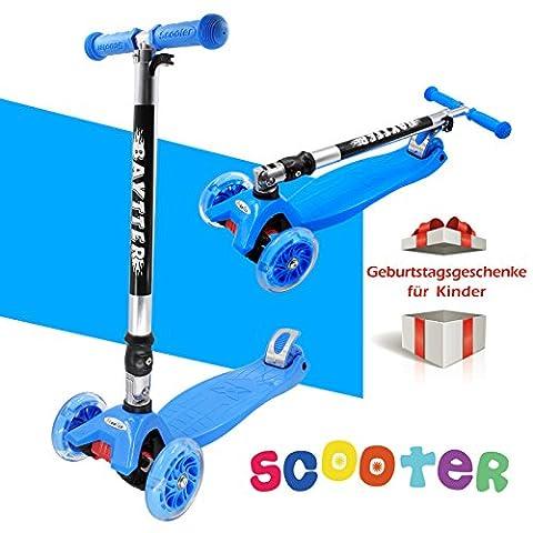 BAYTTER® Kinderscooter aus Aluminiumlegierung, Kinderroller Dreiräder für Kinder ab 2 Jahre, mit LED Blinken