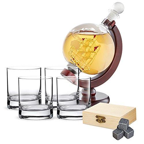 AMAVEL Whiskyset - Karaffe Globus - Vier Whiskygläser - Whiskysteine in Holzbox - Tumbler - Kühlsteine - Whiskey Dekanter mit Segelfschiff und luftdichtem Verschluss - Geschenkidee für Männer
