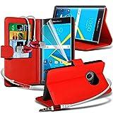 Blackberry Priv / PRIV von Blackberry Hüllen (rot + Kopfhörer) Deckung für Blackberry Priv / PRIV von Blackberry-hülle Tasche Haltbarer Buch-Art-PU-Leder-Mappen-Schlag-Abdeckung Hülle Tasche + mit Aluminium Earbud Kopfhörer, Poliertuch