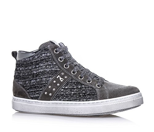 NERO GIARDINI - Sneaker grigia stringata, in camoscio e tessuto, con chiusura a zip laterale, logo laterale, Bambina, Ragazza, Donna-35