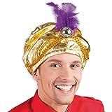 NET TOYS Turban Oriental Sultan | Or | Accessoire somptueux pour déguisement Homme Les Mille et Une Nuits | Convient Parfaitement pour soirée à thème & fête déguisée