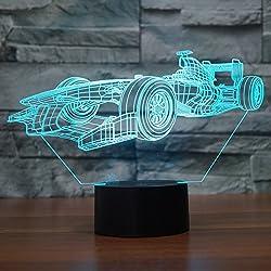 Ahat Illusione Ottica 3D Deco lampada LED Desk luce 7 di notte che Cambiano Colore(F1 Racing Car)