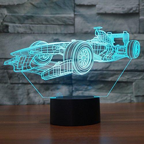 Ahat Romantische 3D Led Illusion Tisch Schreibtisch Deko Lampe 7 Farben ändern Nacht Licht für Schlafzimmer Home Decoration, Hochzeit, Geburtstag, Weihnachten und Valentine Geschenk(F1 Rennwagen) (Rennwagen-geburtstag)