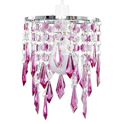 MiniSun - Eleganter 2-stufiger Lampenschirm mit lichtreflektierenden Juwelen aus lilafarbenem und transparentem Acryl im Kronleuchterstil - für Hänge-/Pendelleuchte