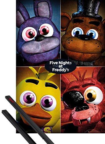 Poster + Sospensione : Five Nights at Freddy's Poster Stampa (91x61 cm) Quad E Coppia Di Barre Porta Poster Nere 1art1®