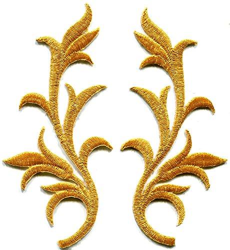 Oro Borde Flecos hojas purpurina Retro Boho bordado