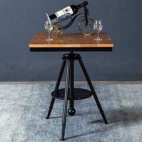 QiXian Loft Tisch und Stühle Café Freizeit Bar Kleine Runde Tisch Kombination Tee Shop Outdoor Clear Bar Zurück Massivholz Esstisch, Schwarz, 55 * 55 * 75 - Zurück Massivholz