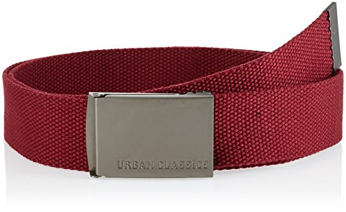 Urban Classics TB305 Unisex Gürtel Canvas Belt für Herren und Damen, stufenlos verstellbarer Stoffgürtel, Rot (burgundy 606), Gr. One Size