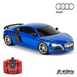 Audi R8 GT, Voiture sous Licence Officielle pour Enfants avec Lampes de Travail, Radio pilotée sur Route RC 1:18, 2,4 GHz Bleu, Excellent Jouet pour garçons et Filles
