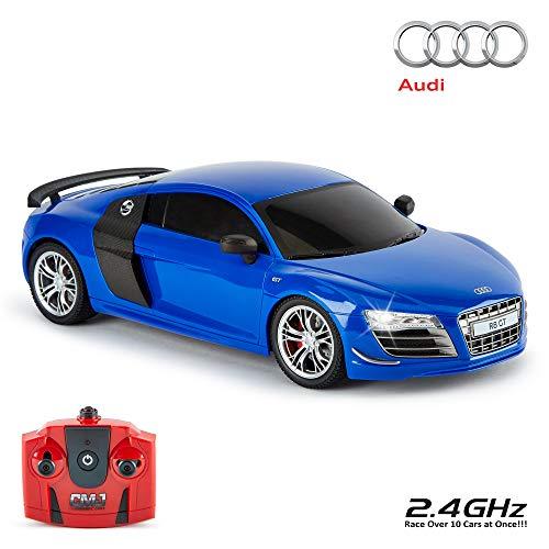 CMJ RC Cars TM Audi R8 GT Offiziell Lizenziertes ferngesteuertes Auto im Maßstab 1:18 Arbeitsscheinwerfer 2,4 GHz Blau