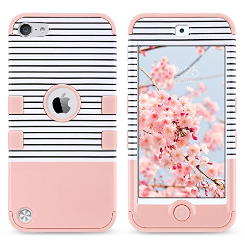 iPod Touch 5 Hülle, ULAK iPod Touch 6 Hülle 3in1 Stoßfest Hybrid High Impact Hart PC und Weiche Silikon Schutzhülle Tasche Case Cover für Apple iPod Touch 5 6 Generation (Rosa + Grau) minimale Streifen Roségold