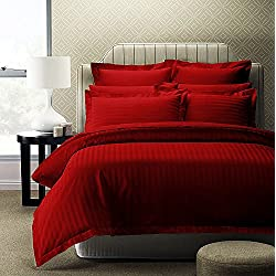 Story@Home Forever XL 300 TC Superior 100 % Cotton Solid Satin Plain Double King Size Bedsheet with 2 Pillow Covers, Red