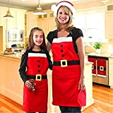 Mrs Babbo Natale Santa Claus Style grembiule, Aiken® Holiday donne carino volant grembiule da cucina di base, cottura, crafting and more Thanksgiving Christmas Gift, Red, For Adult