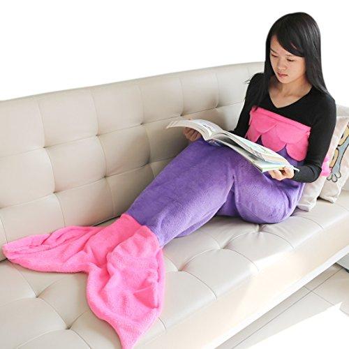 iEFiEL Kinder Meerjungfrau Flosse Kostüm Decke Fleecedecke für Mädchen (4-6 Jahre, Lila+Dunkel Rosa)