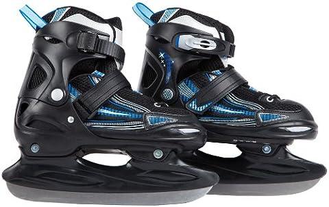 Ultrasport Patins à glace pour enfants réglables sur plusieurs pointures, avec protection de la lame et sac de transport - Certification TÜV/GS, Noir-BleuClair-Bleu, 28-31