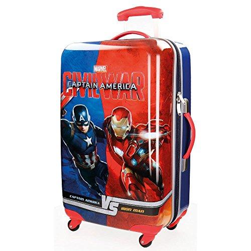 Marvel avengers captain america iron man versus 4721551 trolley medio rigido, civil war, 33 litri, 67cm abs, blu