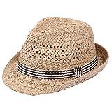 Leisial Cappello di Estate dei Bambini Cappello del Bambino Cappello da Sole per Bambini Cappello Jazz del Ragazzo Sun Cappuccio per la Spiaggia,52CM,Cachi