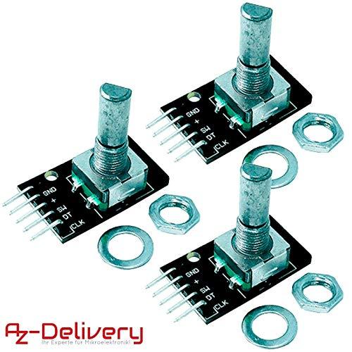 AZDelivery ⭐⭐⭐⭐⭐ 3 x KY-040 Drehwinkelgeber Drehgeber Rotary Encoder Modul für Arduino