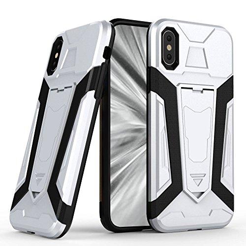 Handy Case für Apple iPhone X 10 - 5.8 Zoll | Sharp SIlver Hybrid Cover TPU Kunststoff | Plastik mit Kickstand Handy Cover Tasche Schale Schutz Hülle Sharp Silver