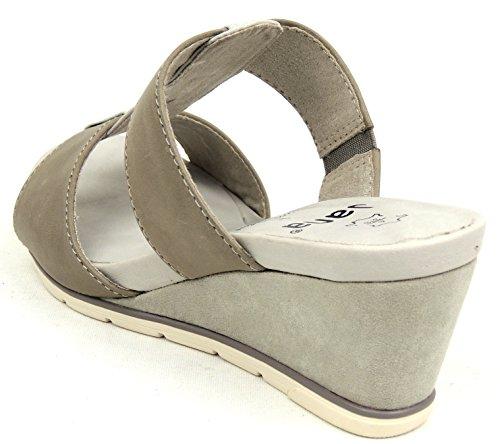 Jana Mules cuir largeur H Gris clair Paillettes Courroie 27200 Gris - lt. grey 204