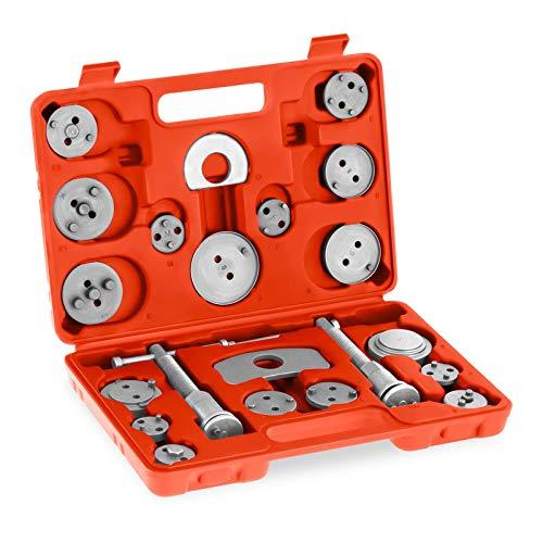 MSW Motor Technics Bremskolbenrücksteller Set Satz Bremssattel MSW-BPCT-21 (rechts-/linksdrehende Gewindespindel, Rückhalteplatten, Adapterplatten, Werkzeugkoffer) Stahl