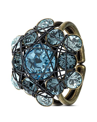 KONPLOTT Ring Bended Lights Messing Hell Blau Fingerschmuck Damen Extravagantes Design