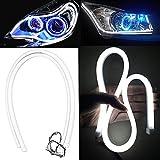 Velidy 2 Stück Auto Motorrad LED Front-Lampe flexible Soft Tube DRL Strip Tagfahrlicht Leiste Lichterkette Band Beleuchtung Weiss