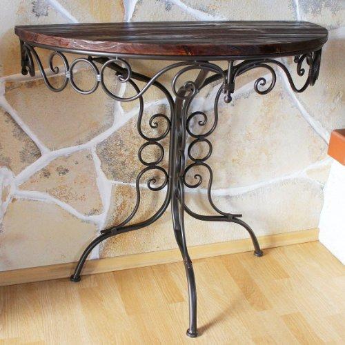 Tisch Wandtisch HX12582 Beistelltisch aus Metall Halbrund 82cm Konsolentisch