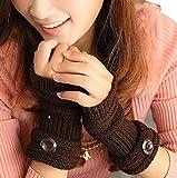 TININNA Invierno Cable Knit de Punto sin Dedos Guantes Calentadores de muñeca para Mujeres Niñas con Diseño Botón Coffee