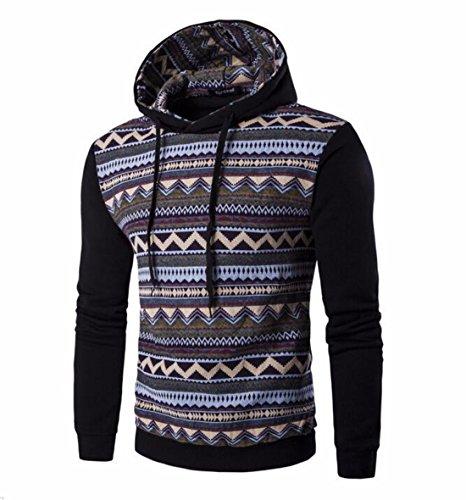 Men's Fashion Stripe Prints Slim Fit Pullover Hoodies BlackGray