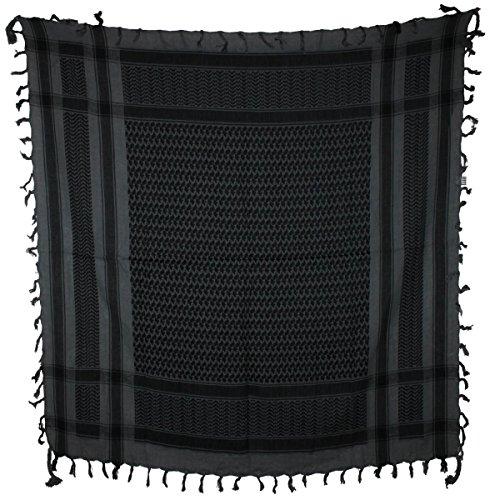 Freak Scene® Foulard palestinien/keffieh classique en coton - bicolore - 100 x 100 cm - Large palette de couleurs! gris motif noir