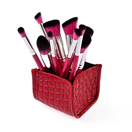 Pixnor Alligator de mires maquillage pinceau organisateur à la casse de stockage titulaire (rouge)