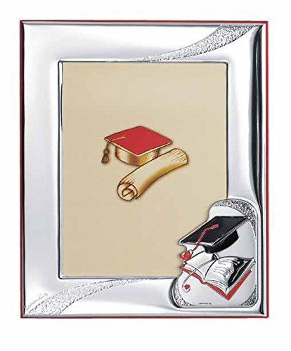 Laurea – cornice laurea cm 13x18 retro legno rosso e fascia bi laminata argento con smalto rifinita made in italy