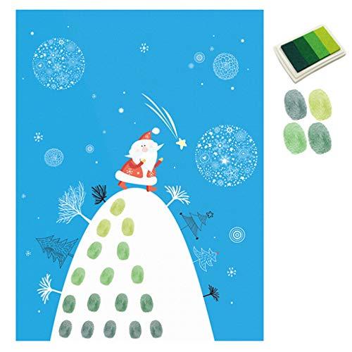 GROOMY Weihnachtsdekoration, DIY Santa Meteor Fingerabdruck Leinwand Malerei Hochzeit Unterschrift Dekoration, 2With Adhesive Kleber