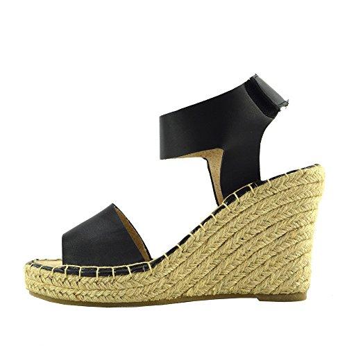 Kick Footwear - Womens High Wedge Ferse Knöchelriemen Damen Sandalen Sommer Platform Black F2250