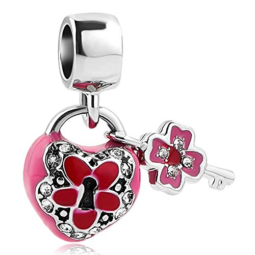 Korliya flower key to my heart charm pendente perlina per braccialetto