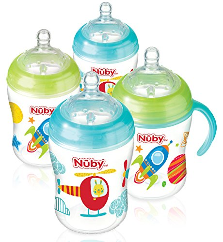 Nuby Natural Touch Decorated Bottles (270 ml, Pack of 4) 51 2BVOQAbSLL