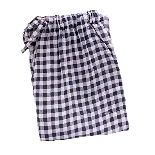[Black & White Grids] Frauen Baumwoll Nachtwäsche Loose Pyjamas Hosen Pyjama Bottoms (Pyjama Schwarz Bottoms,)