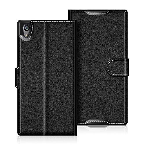 coodio Sony Xperia Z5 Hülle Leder Lederhülle Ledertasche Wallet Handyhülle Tasche Schutzhülle mit Magnetverschluss/Kartenfächer für Sony Xperia Z5, Schwarz