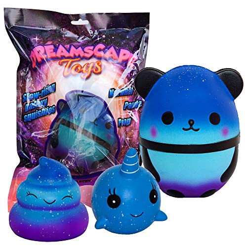 Dreamscape Toys Squishies - Anti Stress Kawaii Squishy Spielzeug Squeeze Galaxy 3 Stück (Jumbo Panda + Narwhal + Poop) (Squeeze Toy Squishy)