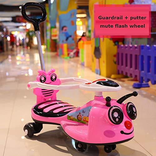 GHH Little Bee Children Baby Walker 1/2-6 Años De Edad Scooter para Bebés Twist Car 4 Wheel MusicRosa...
