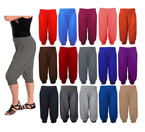 ZEE FASHION New Ladies Plus Size Ali Baba Baggy Stretch Fit Shorts Womens Plain Cropped Harem Trouser Pants Size 8-26