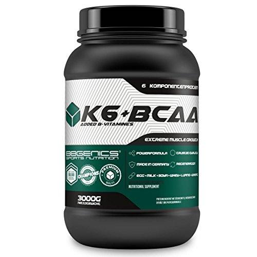 K6 + BCAA Mehrkomponenten Protein, 6 Proteinquellen Whey (Molke) Milch (Casein) Hühnerei, Soja, Weizen und Lupinen-Protein mit Vitamin B-Komplex, by BBGenics Sports Nutrition, 3000g Vanille