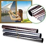 MOOUK Riflettente Window Film One Way Specchio Film Heat Control Sun Adesivo Riflettente per la Privacy Glass Privacy Adesivo Vetro Tinta autoadesivi Solare Controllo, Gray, 50x200cm